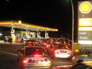 A Shell petrol station at night