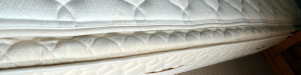 Close-up of mattress with pillow top removed.