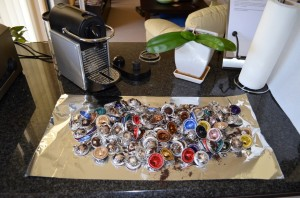 A large number of pressed Nespresso pods