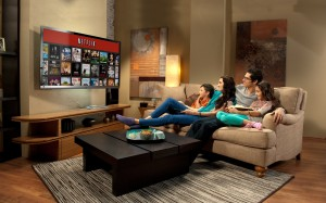 A family watching Netflix together at home